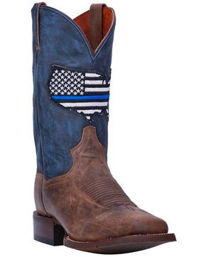 Dan Post Men's Thin Blue Line Flag Patch Cowboy Boots - Square Toe, Brown, hi-res