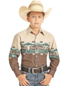 Panhandle Boys' Tan Aztec Scenic Border Print Long Sleeve Western Shirt , Tan, hi-res