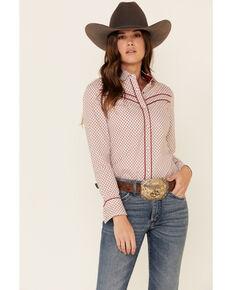 Panhandle Women's Dot Geo Print Piped Long Sleeve Western Shirt , Rust Copper, hi-res