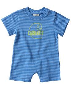 Carhartt Infant Boys' Royal Blue Stripe Logo Short Sleeve Romper , Royal Blue, hi-res