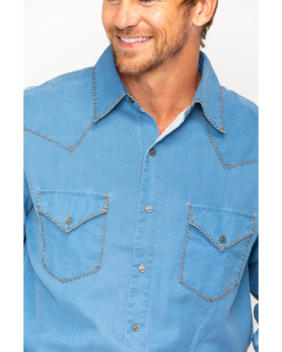 Ryan Michael Men's Indigo Distressed Waffle Shirt , Indigo, hi-res