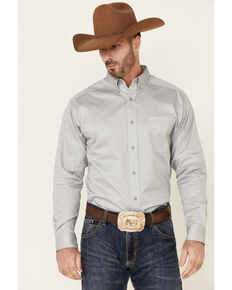 Ariat Men's Grey Solid Twill Long Sleeve Button-Down Western Shirt , Grey, hi-res