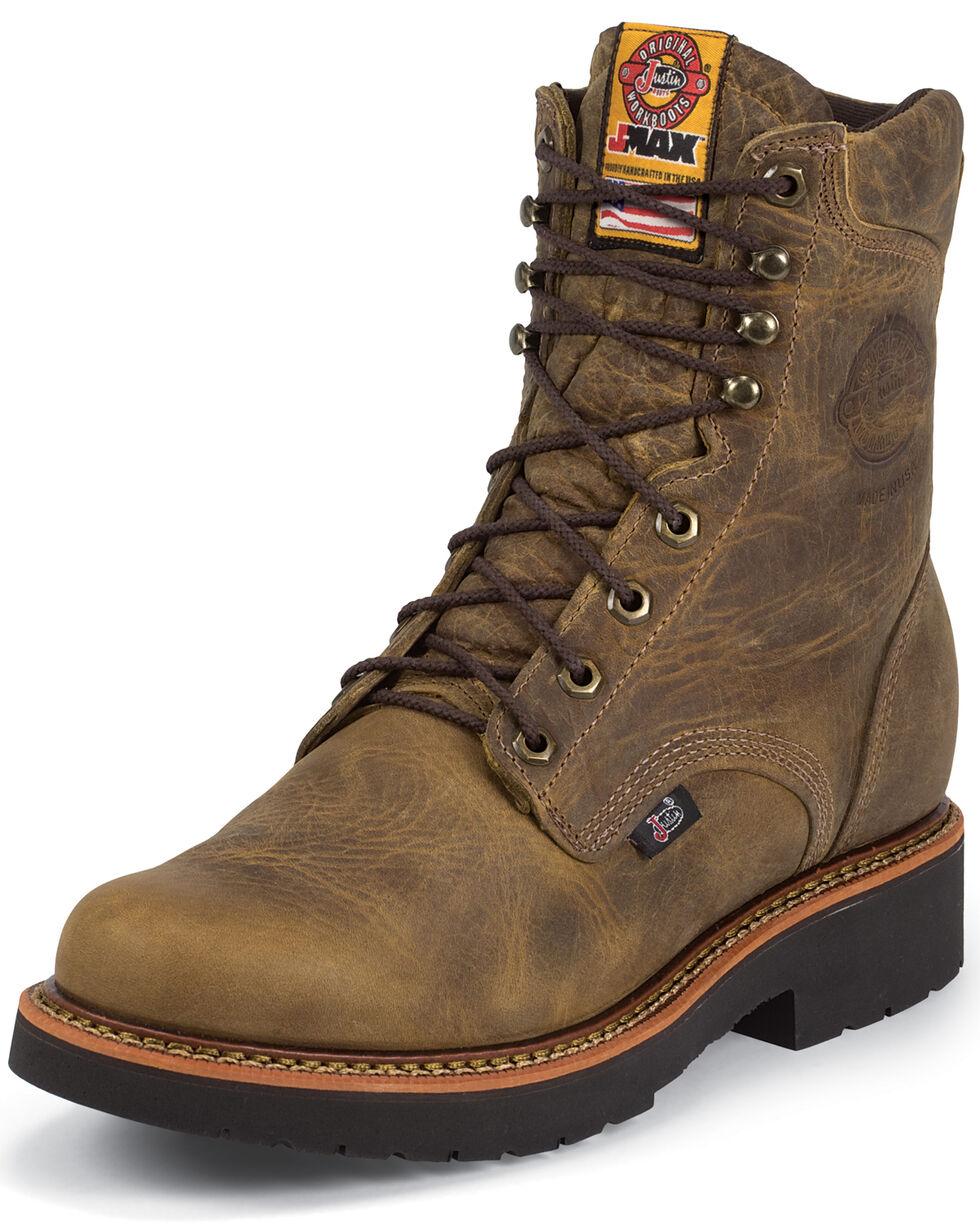 """Justin Men's J-Max 8"""" Blueprint Lace-Up EH Work Boots - Soft Toe, Tan, hi-res"""