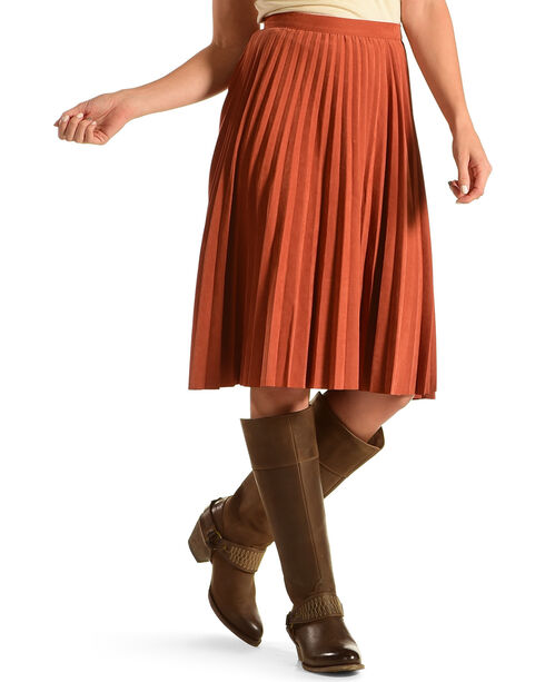Mystree Women's Faux Suede Pleated Midi Skirt, Rust Copper, hi-res