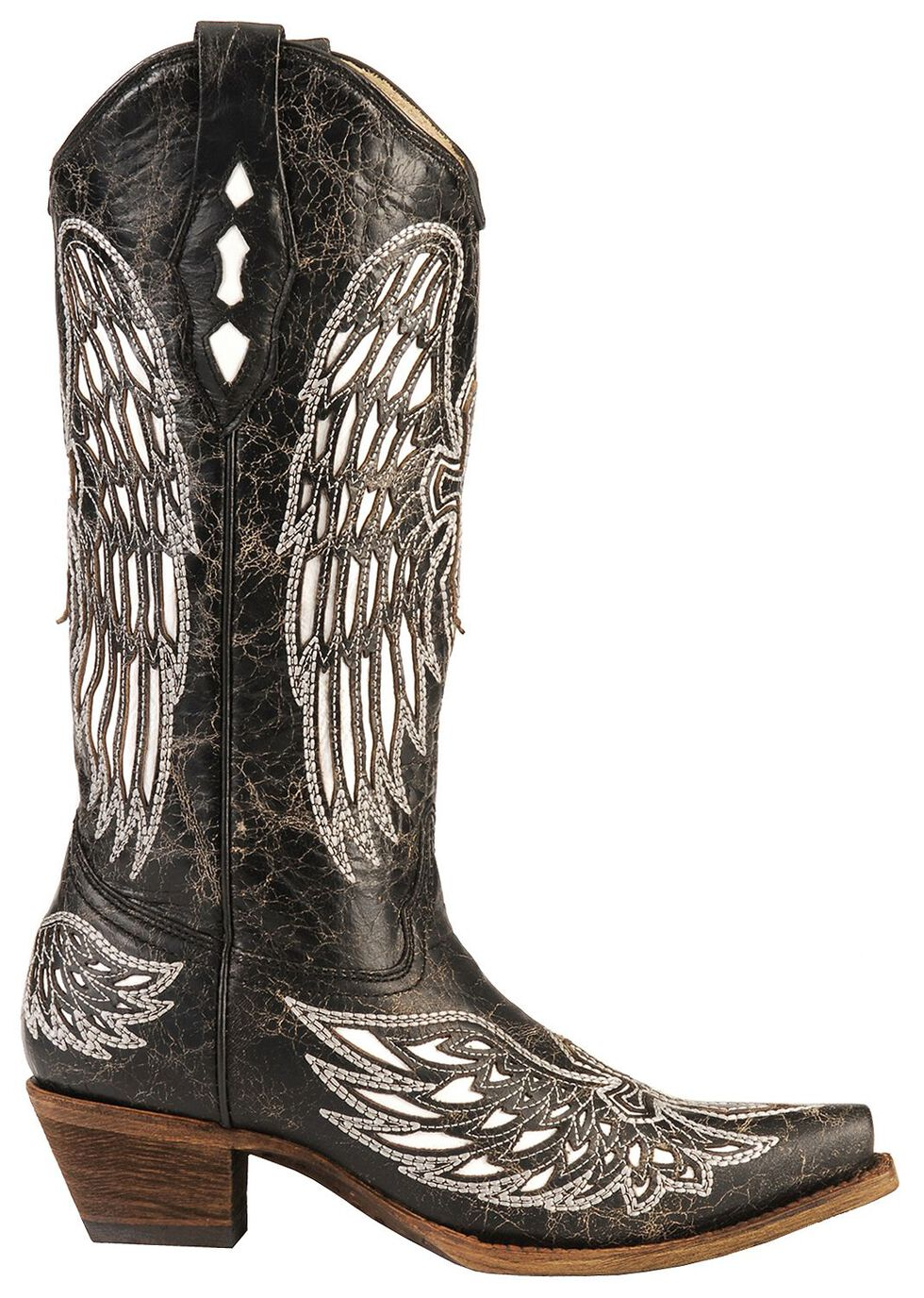 Corral White Wing Inlay & Cross Embroidery Distressed Cowgirl Boots - Snip Toe, Black, hi-res