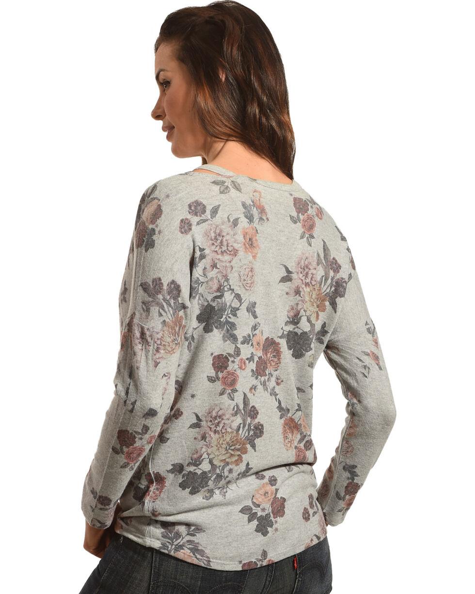 Moa Moa Women's Grey Floral Brushed Knit Cold Shoulder Sweater, Grey, hi-res