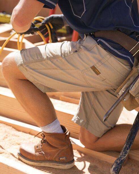 Ariat Rebar Men's Khaki Canvas Work Shorts, Beige/khaki, hi-res
