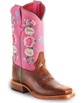 Macie Bean Girls' Rose Top Cowgirl Boots - Square Toe , Brown, hi-res