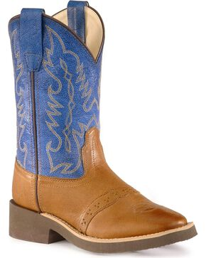 Old West Children Boys' Crepe Sole Cowboy Boots, Tan, hi-res