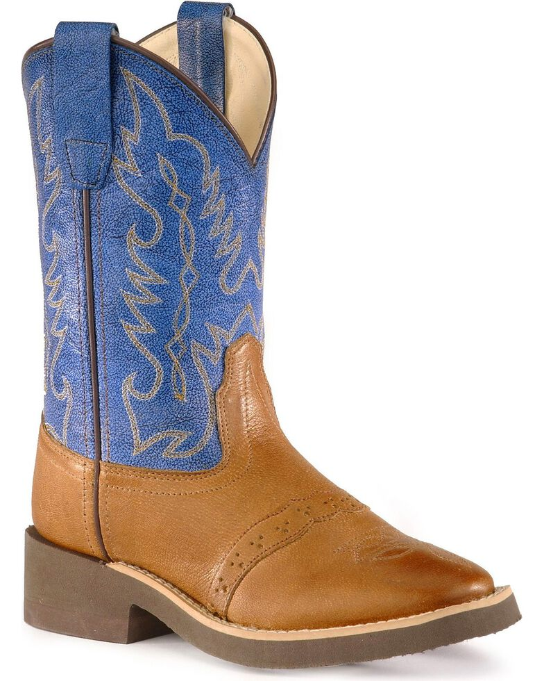 Old West Youth Crepe Sole Cowboy Boots, Tan, hi-res