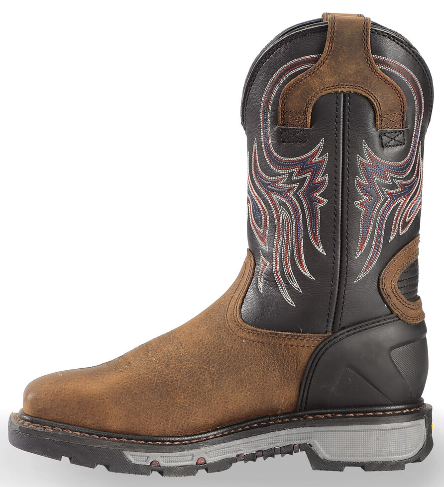 Justin Men's Tanker Black Western Work Boots - Steel Toe, Timber, hi-res