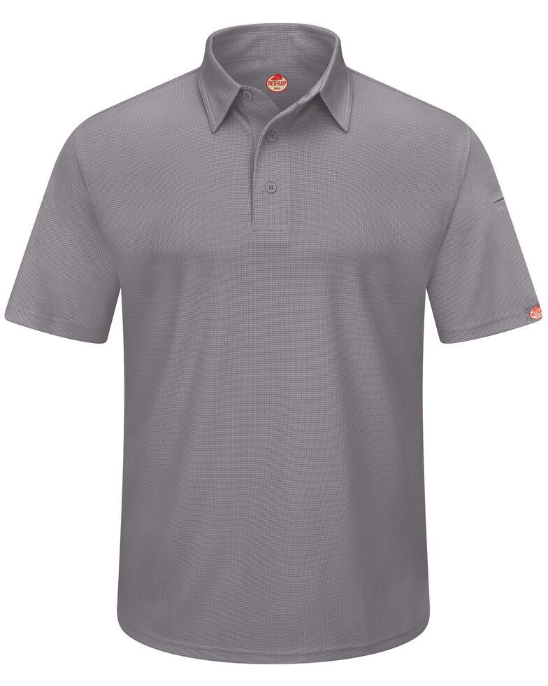 Red Kap Men's Performance Knit Flex Series Polo Shirt , Grey, hi-res