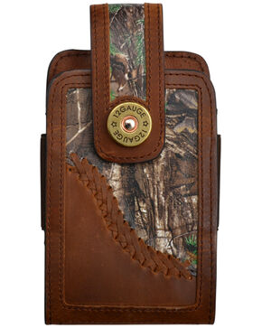 Justin Men's 12 Gauge Camo Leather Smartphone Holder, Brown, hi-res