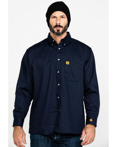 Wrangler Riggs Men's FR Flame Resistant Solid Twill Work Shirt, Navy, hi-res