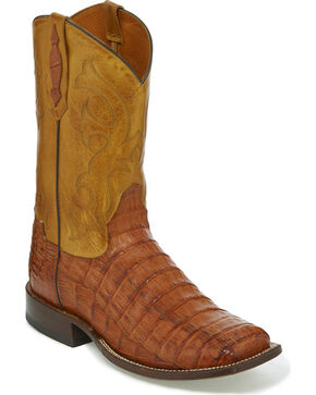 Tony Lama Men's Brandy Burnished Caiman Belly Cowboy Boots - Square Toe, Tan, hi-res