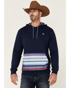 HOOey Men's Navy Pocket Serape Stripe Pullover Hooded Sweatshirt , Navy, hi-res