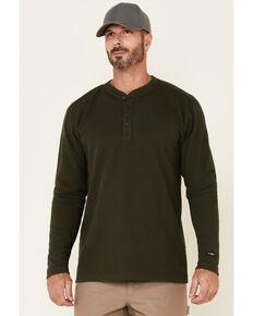 Hawx Men's Dark Green Thermal Henley Long Sleeve Work Shirt, Dark Green, hi-res