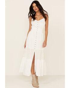 Miss Me Women's White Crochet Inset Button Front Maxi Dress , White, hi-res