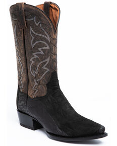 Dan Post Men's Black Ostrich Leg Western Boots - Snip Toe, Black, hi-res