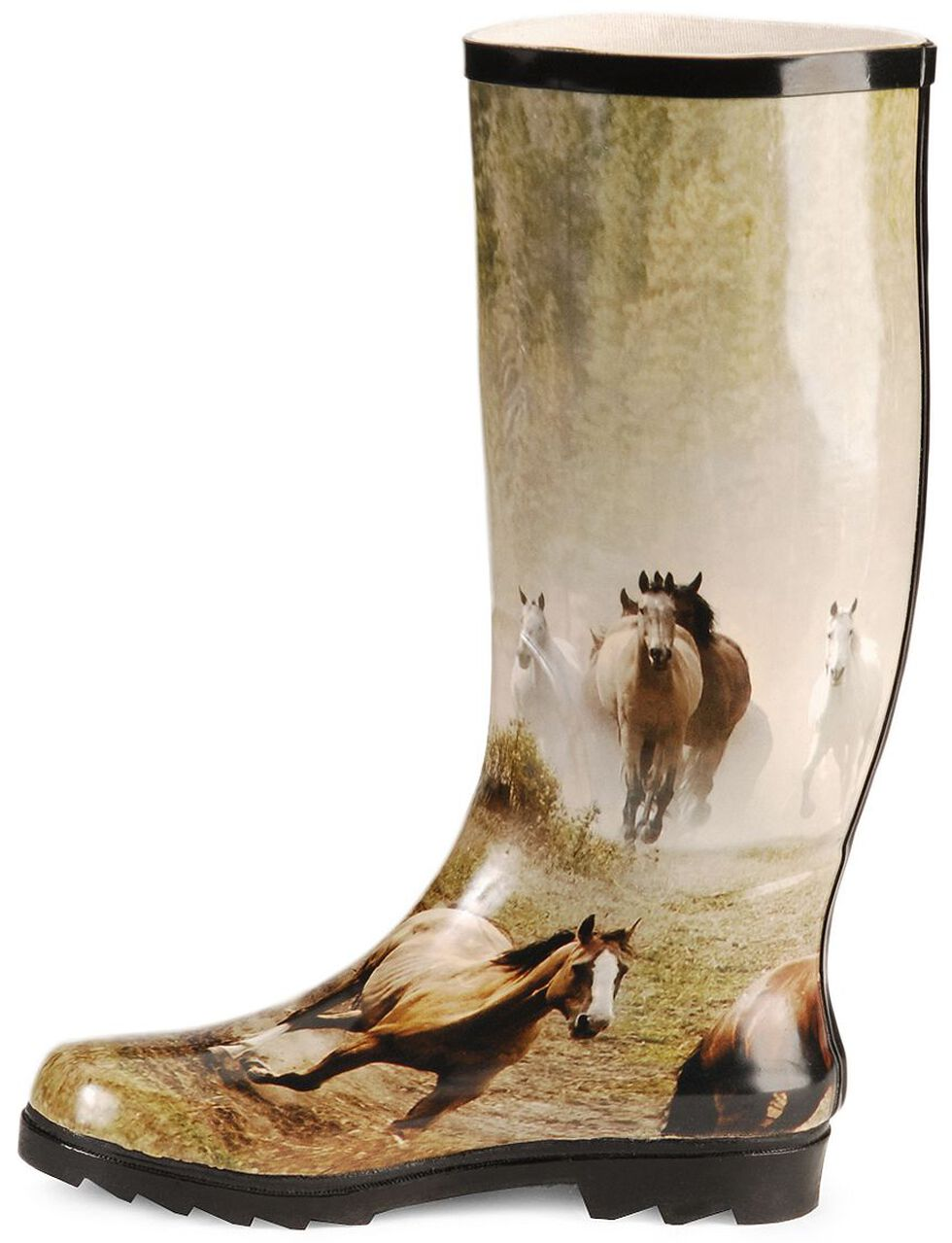 Smoky Mountain Running Horses Tall Rubber Rain Boots - Round Toe, Print, hi-res