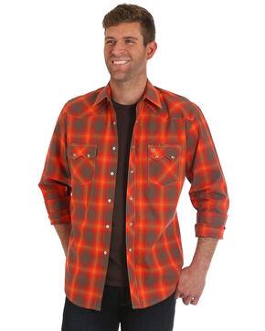 Wrangler Men's Retro Orange Plaid Shirt, Orange, hi-res