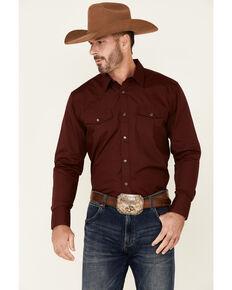 Gibson Men's Burgundy Basic Solid Long Sleeve Snap Western Shirt , Burgundy, hi-res