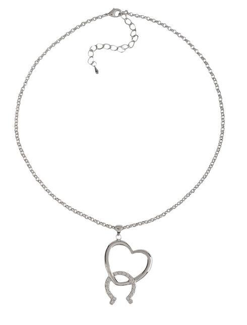 Montana Silversmiths Cubic Zirconia Heart & Horseshoe Necklace, Silver, hi-res