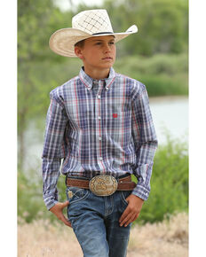 Cinch Boys' Multi Plaid Button Long Sleeve Western Shirt , Multi, hi-res
