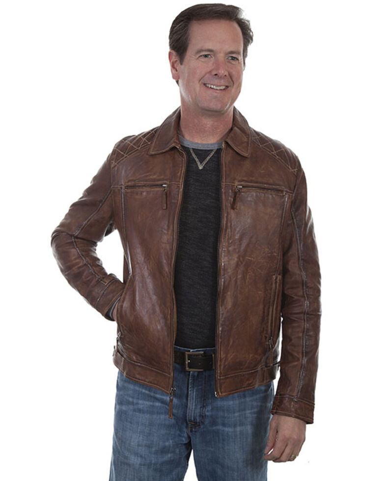 Scully Leatherwear Men's Brown Washed Lamb Leather Jacket , Brown, hi-res