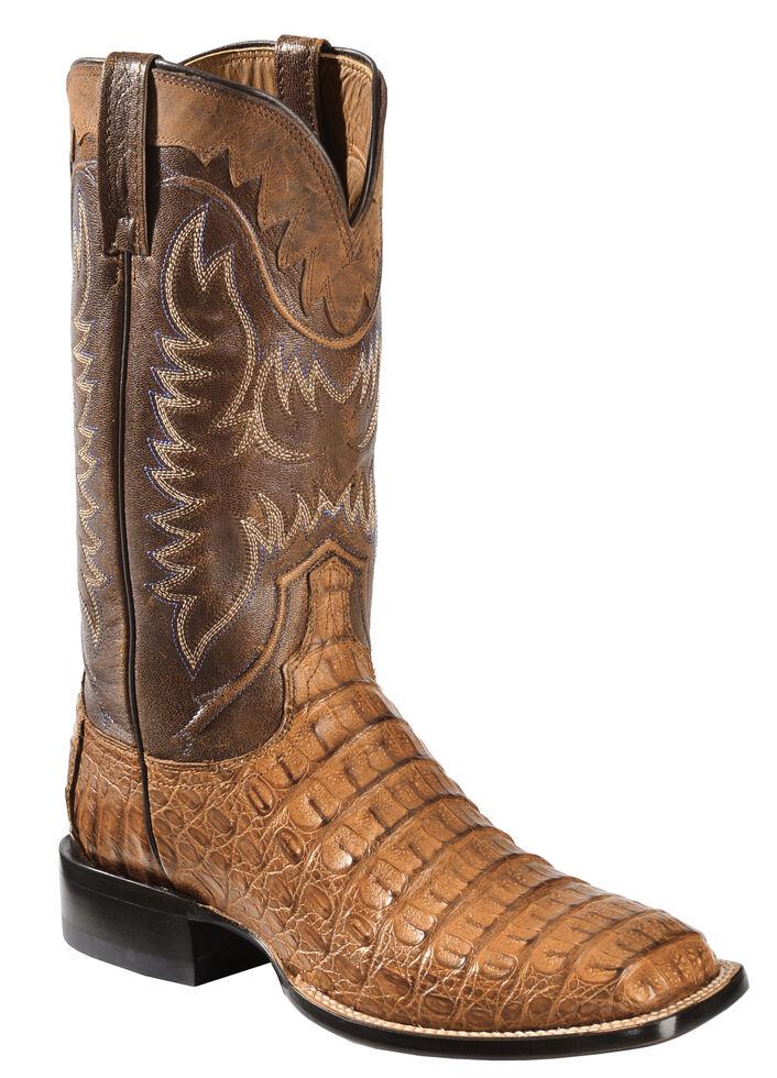 Lucchese Handmade 1883 Men's Rhys Hornback Caiman Cowboy Boots - Square  Toe, Tan, hi