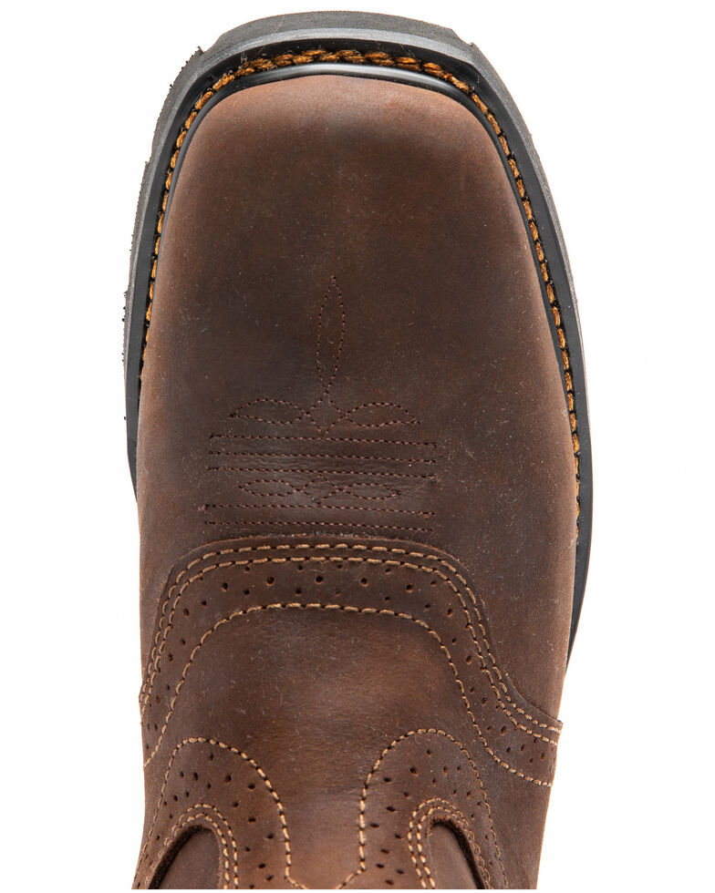Cody James Men's Saddle Waterproof Western Work Boots - Soft Toe, Dark Brown, hi-res