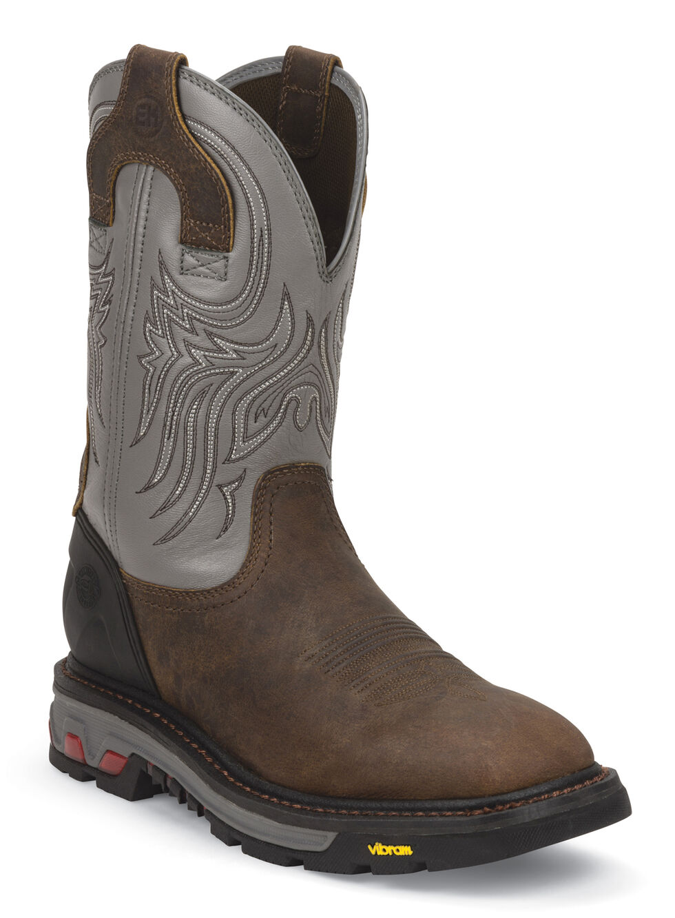 Justin Men's Tanker Silver Electrical Hazard Work Boots  , Timber, hi-res