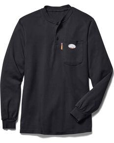 Rasco Men's Black Flame-Resistant Henley T-Shirt - Big, Black, hi-res