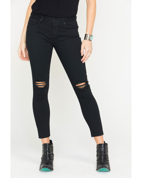 Miss Me Women's Black Destructed Ankle Jeans - Skinny , Black, hi-res