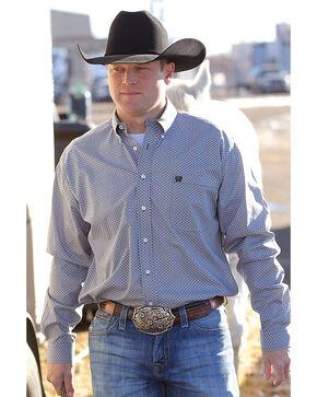 Cinch Men's Navy Print Long Sleeve Western Shirt , Navy, hi-res