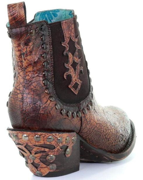 Corral Women's Studded & Crackled Ankle Boots - Round toe, Sand, hi-res