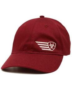 Ariat Men's Burgundy Offset Wing Logo Solid-Back Dad Cap, Burgundy, hi-res
