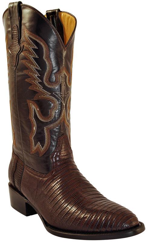 Ferrini Men's Teju Lizard Cowboy Boots - Round Toe, Chocolate, hi-res