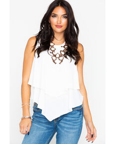 58f32b5836fe0 Panhandle Womens White Crepe Double Layer Flutter Tank