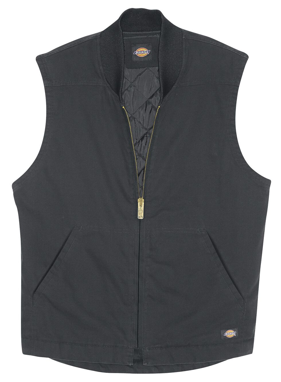 Dickies Sanded Duck Insulated Vest, Black, hi-res