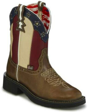 Justin Gypsy Women's Old Glory Western Boots - Round Toe, Brown, hi-res