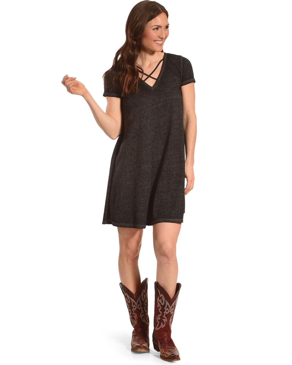 Derek Heart Women's Black Criss Cross Neckline Dress , Black, hi-res