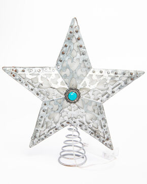 BB Ranch LED Galvanized Concho Star Tree Topper, Silver, hi-res