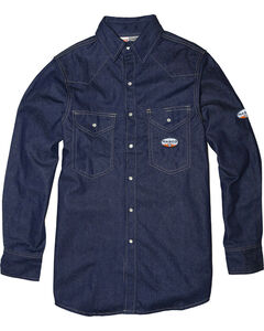 Rasco Men's Flame Resistant Long Sleeve Denim Western Shirt, Blue, hi-res