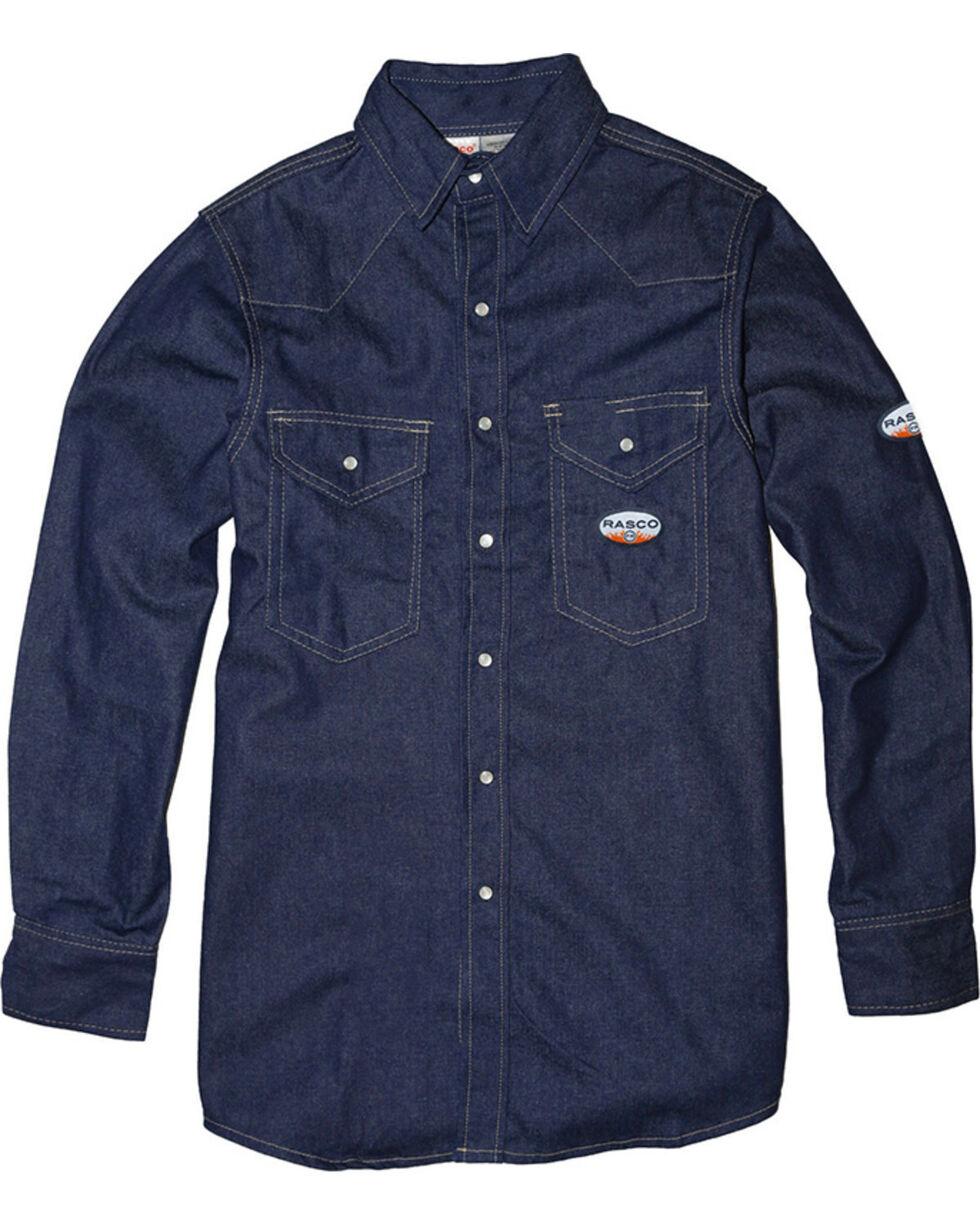 Rasco Men's Flame Resistant Long Sleeve Denim Western Shirt, Blue, hi-res