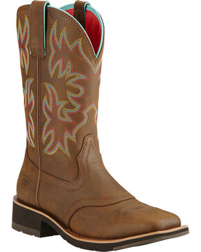 Ariat Women's Delilah Toasted Brown Cowgirl Boots - Square Toe , Brown, hi-res