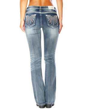 Grace In LA Women's Low Rise Boot Jeans, Blue, hi-res