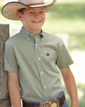 Cinch Boys' Lime Green Geometric Short Sleeve Western Shirt , Multi, hi-res