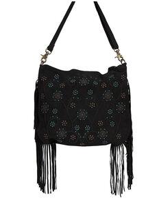 Scully Women's Black Side Fringe Handbag, Black, hi-res