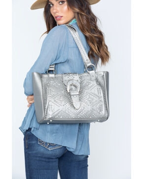 Shyanne Women's Metallic Bling Buckle Tote, Ash, hi-res